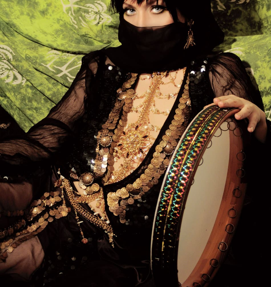 The Rikk: The rikk is the Middle Eastern equivalent to the English tambourine, consisting of a round frame, covered on one side with goatskin. Pairs of metal discs are set into the frame to produce the jingle when struck by the hand. The sounds of this percussion instrument set the rhythm of much Middle Eastern music, particularly for classical pieces.